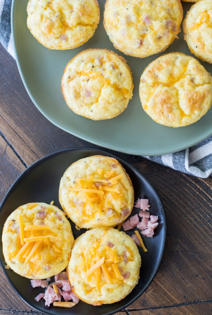 Flourless Keto Ham and Cheese Quiche Cups are only about one net carb each! A perfect low carb meal prep breakfast!