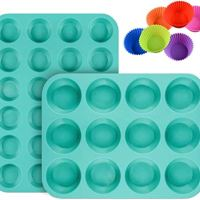 Silicone Muffin Pan Cupcake Set - Mini 24 Cups and Regular 12 Cups Muffin Tin, Nonstick BPA Free Best Food Grade Silicone Molds with Bonus 12 Silicone Baking Cups
