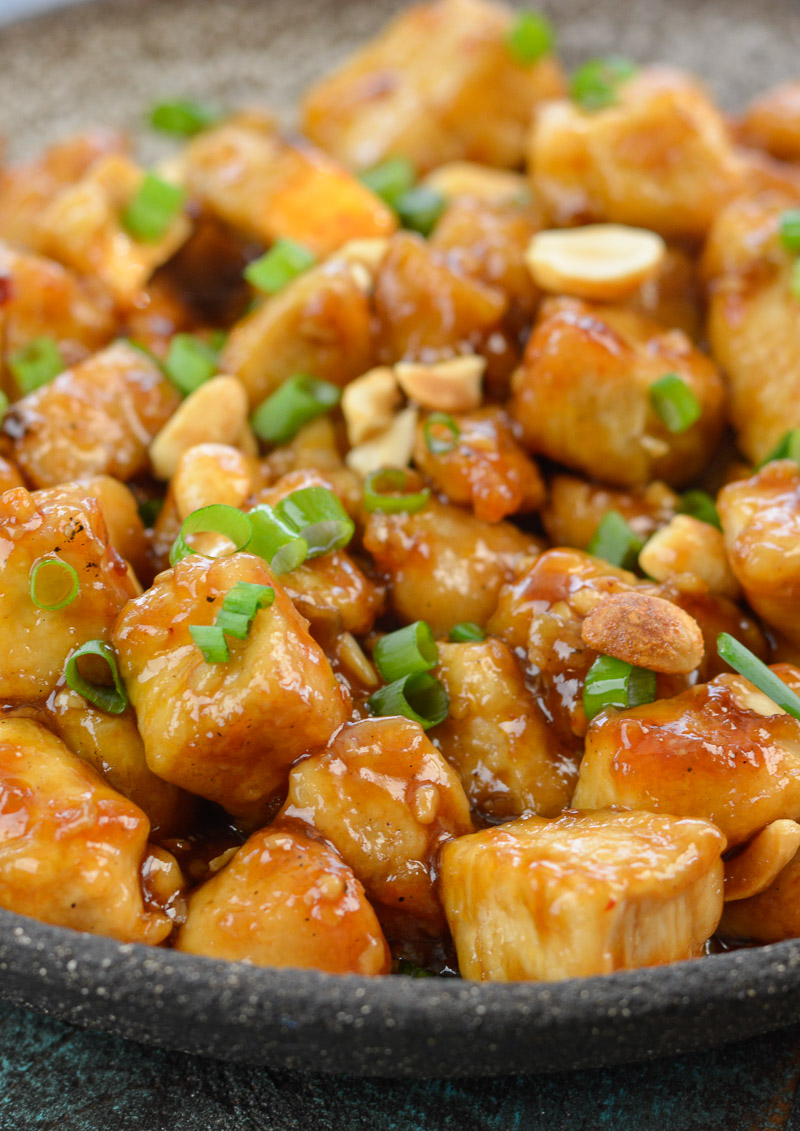 This Low Carb Kung Pao Chicken is better than take-out! At about 4 net carbs per serving this recipe is gluten free, low carb and keto friendly!