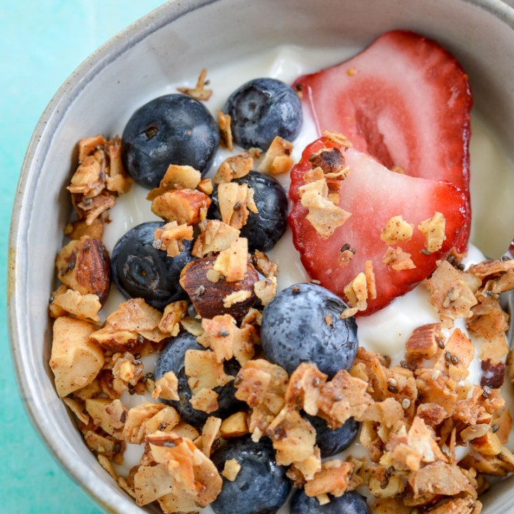 This Grain Free Granola is the perfect sweet, crunchy, keto-friendly snack! Enjoy a serving for just 2.5 net carbs each!