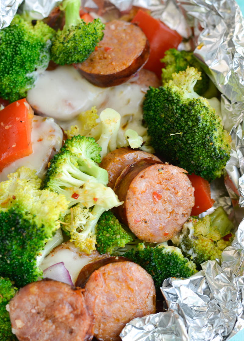 Try these Spicy Sausage Veggie Foil Packs for a fun keto-friendly dinner! Each foil pack can be made on the grill or in the oven and contains just 7.5 net carbs each!