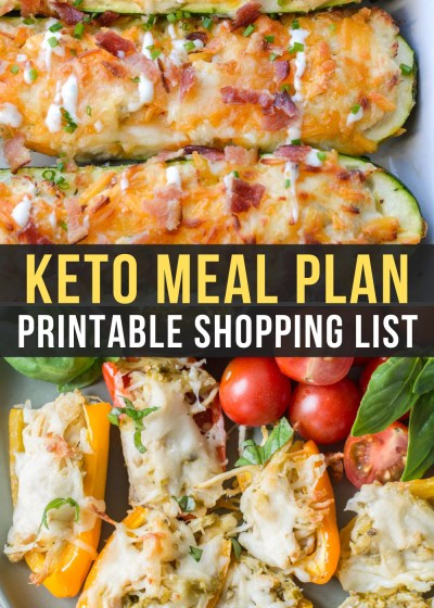 Easy Keto Meal Plan Week 14 has Chicken Bacon Ranch Zucchini Boats and Stuffed Sweet Peppers!