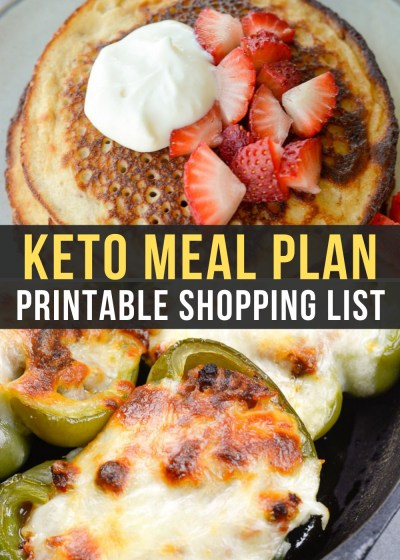 Week 17 has a bonus recipe of keto strawberry pancakes and delicious dinners like Pizza Stuffed Peppers in our Easy Keto Meal Plan!