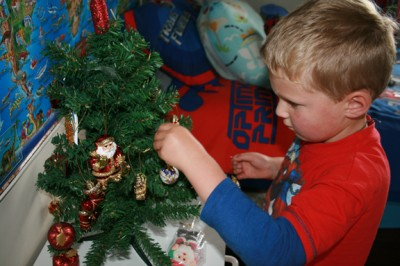 Ethan decorates HIS tree 3