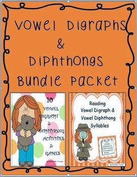 Language Arts Vowel Digraphs Amp Diphthongs Bundle Packet