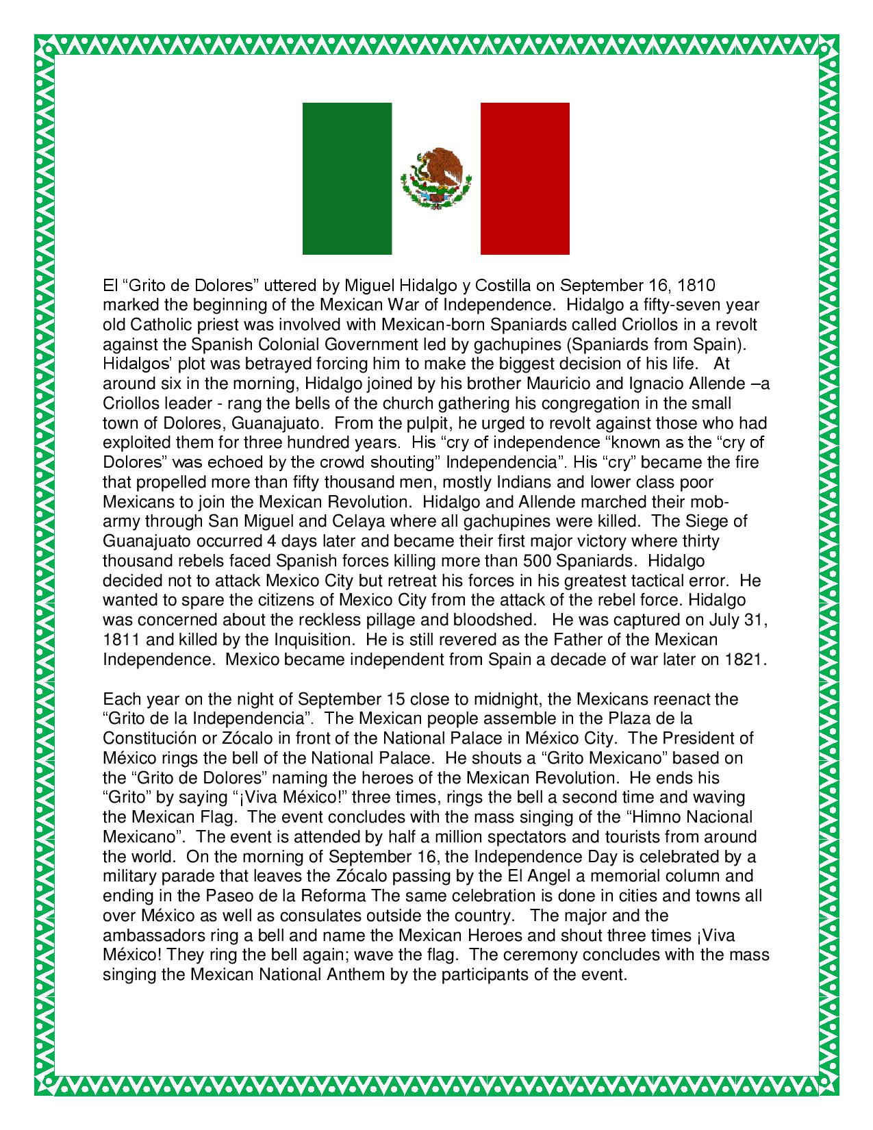 Essay On Mexican Independence Day