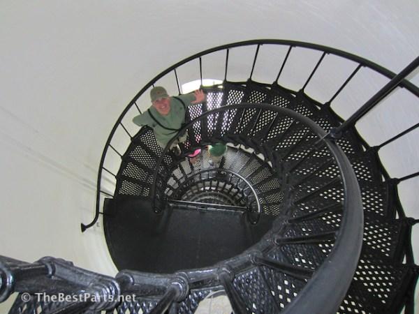 inside Bodie Island Lighthouse