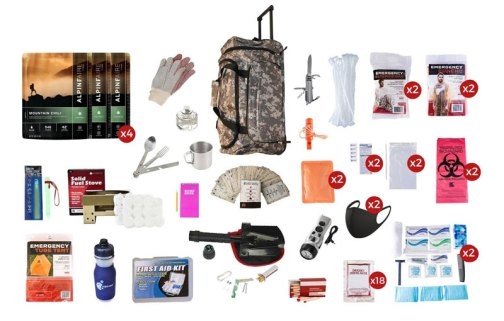 Deluxe Food Storage Survival Kit with Large Camo Wheel Bag (14 Day)