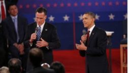 HEMPSTEAD, NY - OCTOBER 16: Republican presidential candidate Mitt Romney and U.S. President Barack Obama answer questions during a town hall style debate at Hofstra University October 16, 2012 in Hempstead, New York. During the second of three presidential debates, the candidates fielded questions from audience members on a wide variety of issues. NYTCREDIT: Josh Haner/The New York Times