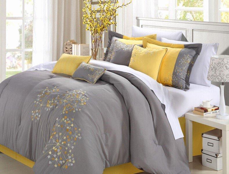 yellow and gray bedroom decor