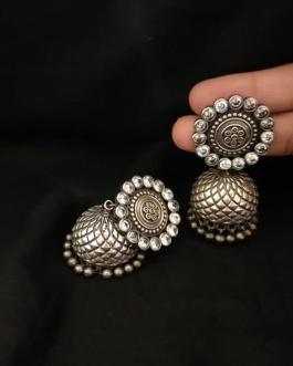 Traditional jhumka with white stone