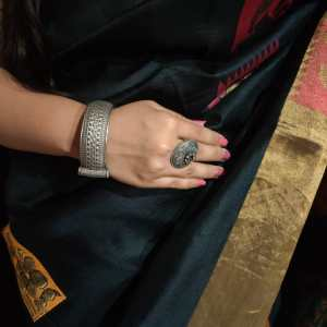 Round Silver Look Alike Kada with handcrafted design