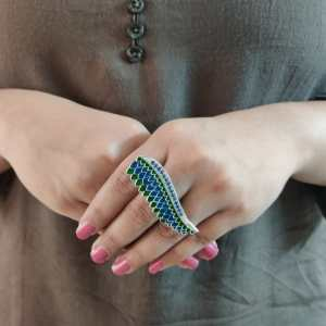 Coloured Silver look alike ring