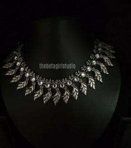 Threaded Leaf Silver Look Alike Necklace
