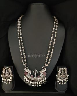 Elephant Inspired Long Silver Look Alike Necklace