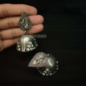 Garba Special Silver Look Alike Earring