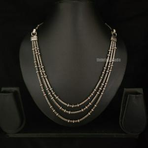 Layered Silver Look Alike Necklace