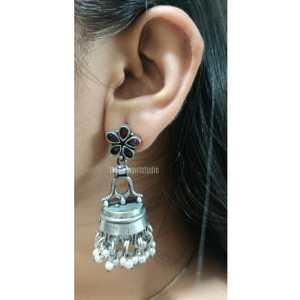 Lantern shaped Silver Look Alike Earring