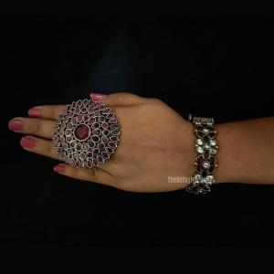 Oversized Silver Look Alike Ring
