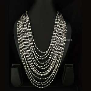 Layered Pearl Silver Look Alike Necklace