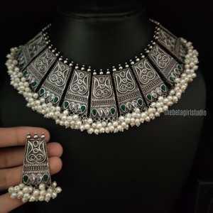 Cluster Pearl Silver Look Alike Choker