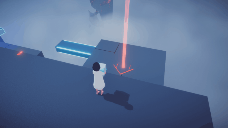 Maya standing on a platform looking toward her goal in the puzzle platforming world.