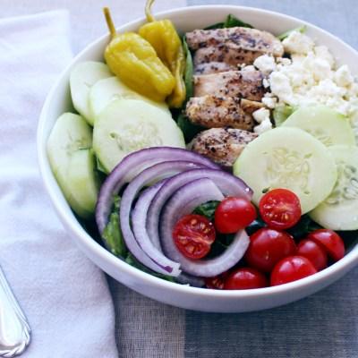 Greek Salad w/ Mason Jar Balsamic Vinaigrette – Keto/Paleo/Whole 30