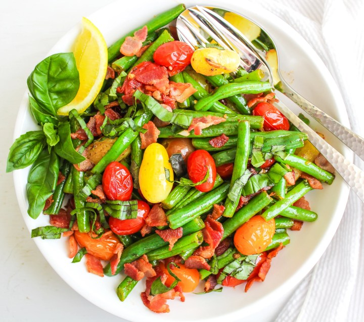 Pan Roasted Green Beans with Cherry Tomatoes