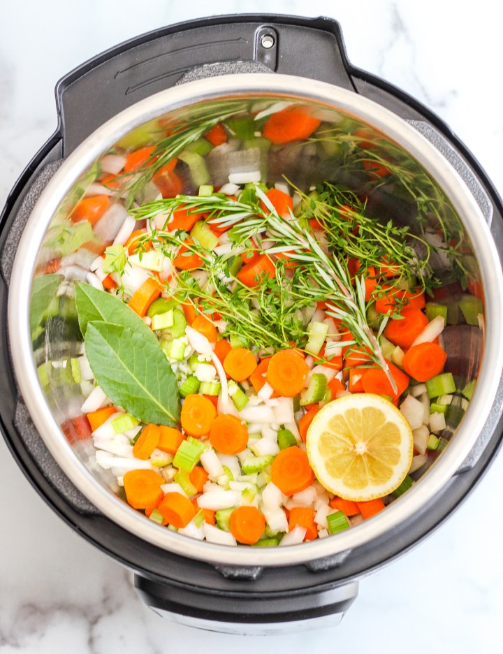 Ingredients for chicken zoodle soup in the Instant Pot
