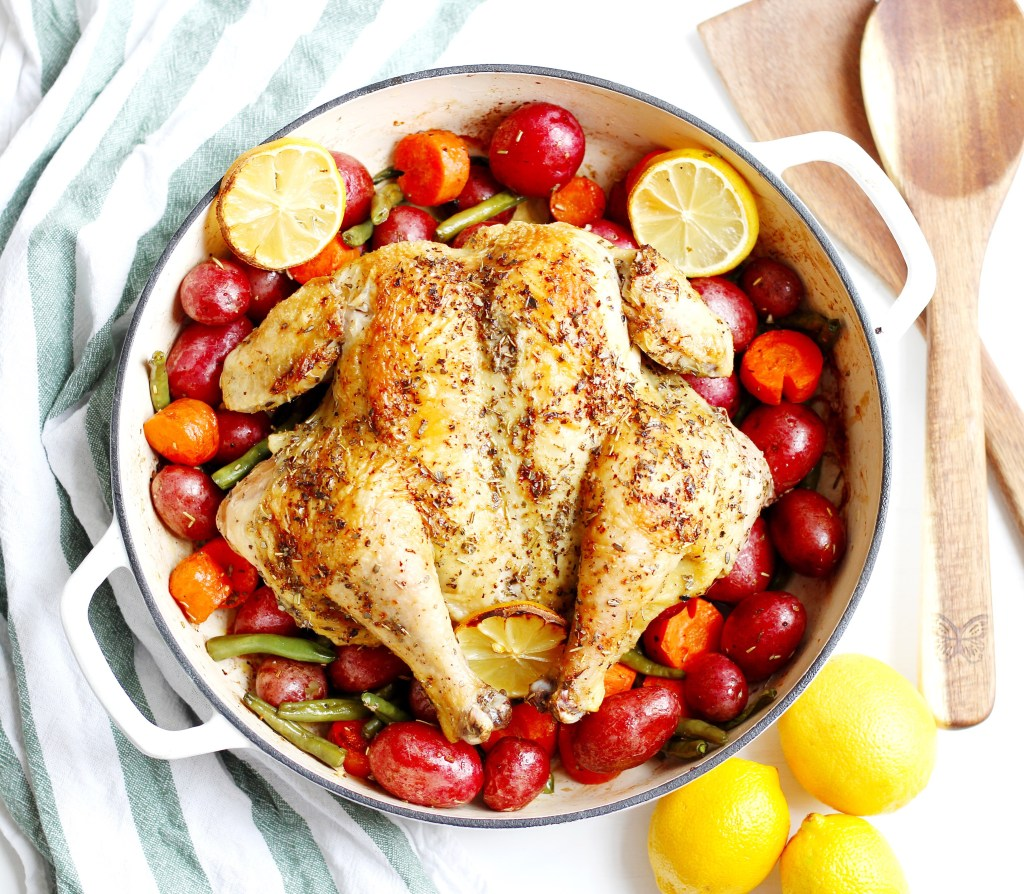whole roasted chicken with potatoes and veggies