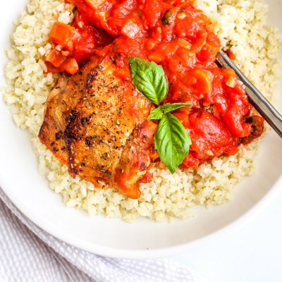 Stewed Tomato and Chicken Skillet