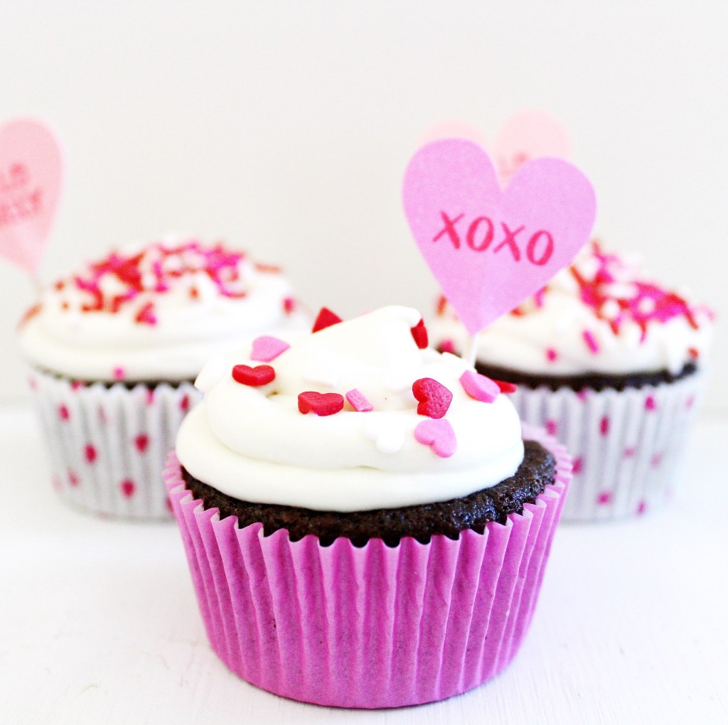Gluten Free Chocolate Cupcakes with Cream Cheese Frosting and Valentine's Day Sprinkles