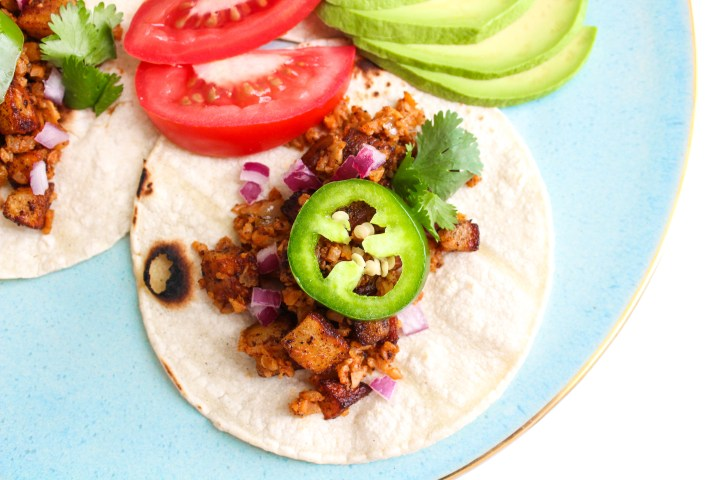 Vegan cauliflower 'chorizo' tacos