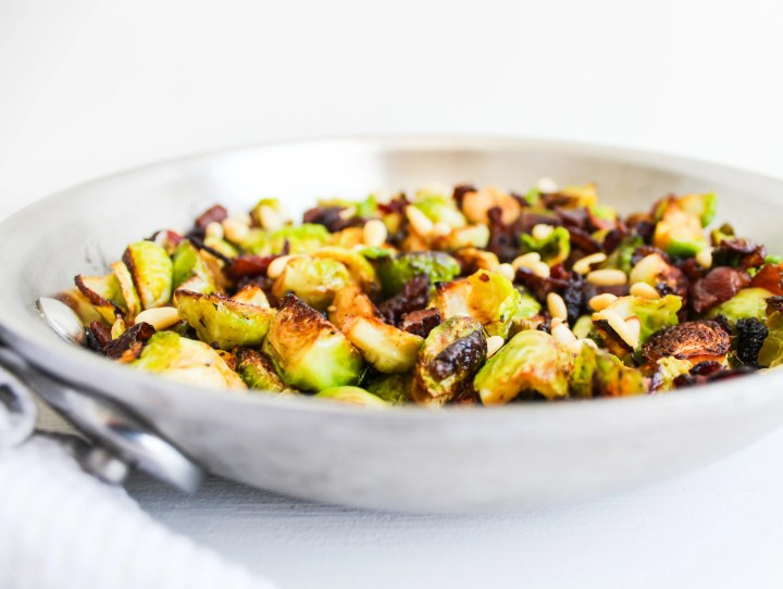 Brussels Sprouts with Balsamic Bacon and Pine Nuts