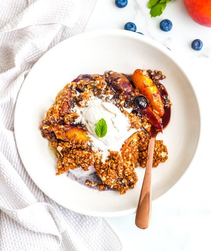Paleo Peach & Blueberry Crisp