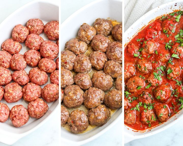 step by step process shots of the easy baked Italian meatballs