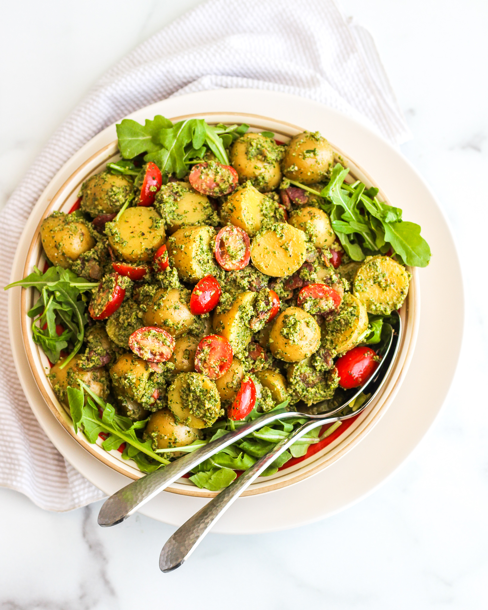 Pesto Potato Salad with Tomatoes & Bacon