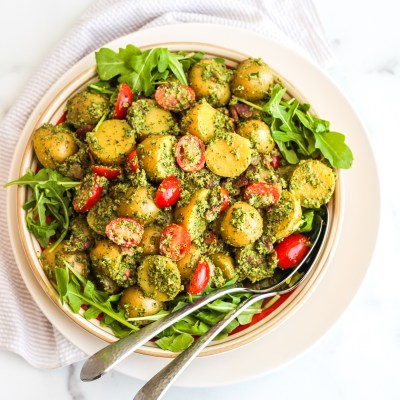 Pesto Potato Salad with Tomatoes & Bacon