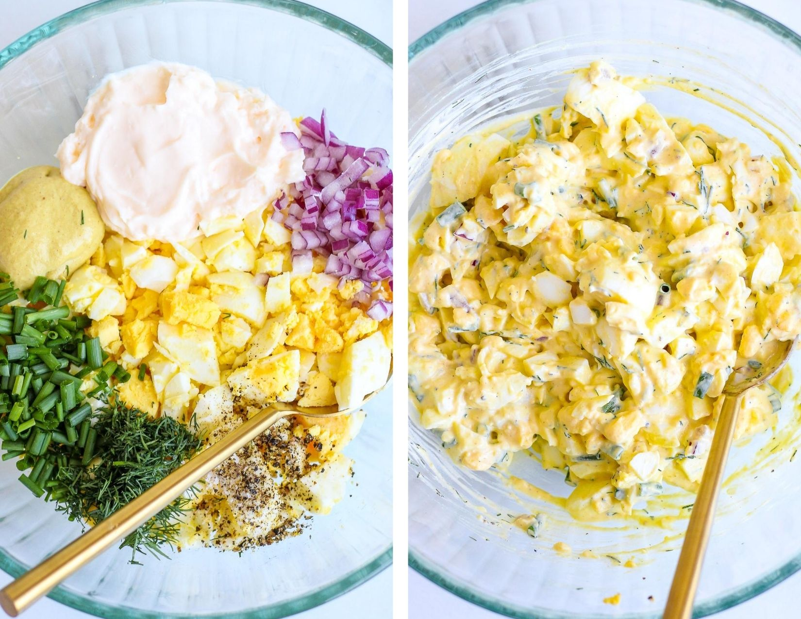 Side by side pictures of prep for egg salad - glass bowls filled with the egg salad components