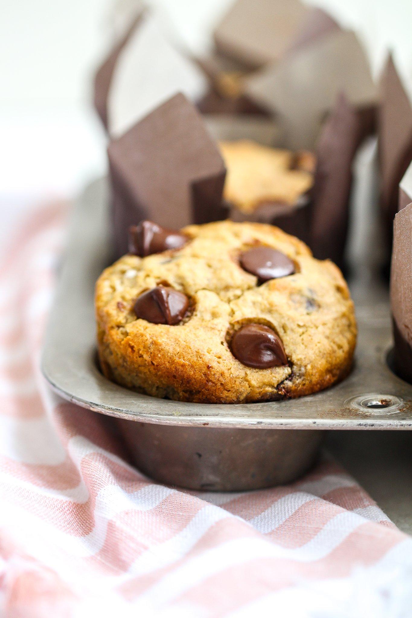 close up shot of chocolate chip banana muffins