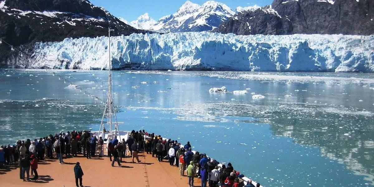 Cruise ship in Alaska glacier