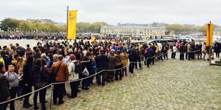 Queue to buy tickets at Versailles