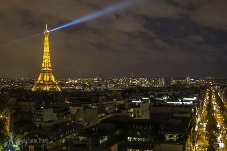 View from Arc de Triomphe after dark