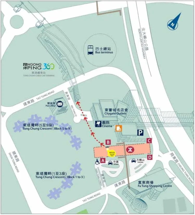 Location of Tung Chung Cable Car Terminal