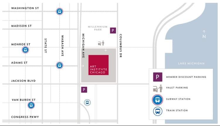 Location of Art Institute of Chicago