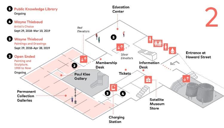 SFMoMA map - Second Floor
