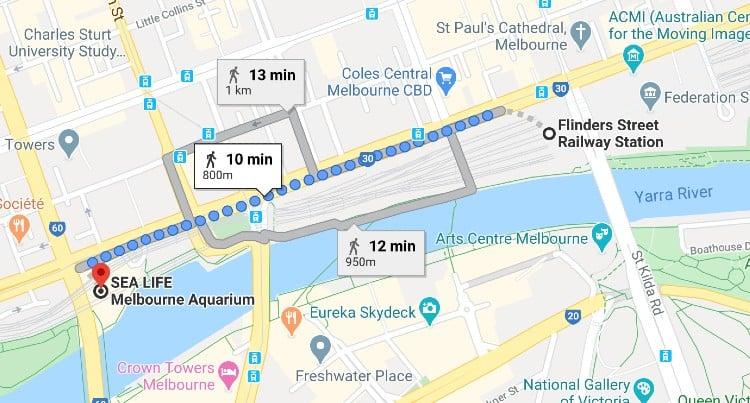 Flinders Station to Melbourne Aquarium