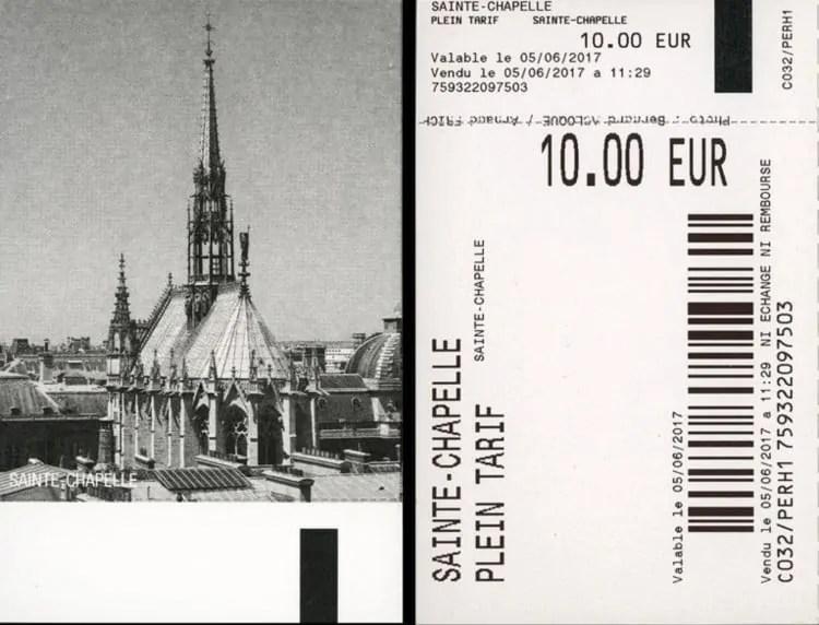 Sainte Chapelle's entry ticket