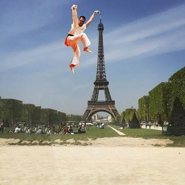 All it takes is a leap of faith to touch Eiffel Tower