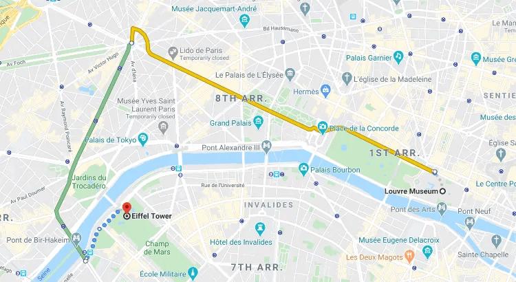 Louvre to Eiffel Tower by Metro - via Charles de Gaulle–Étoile